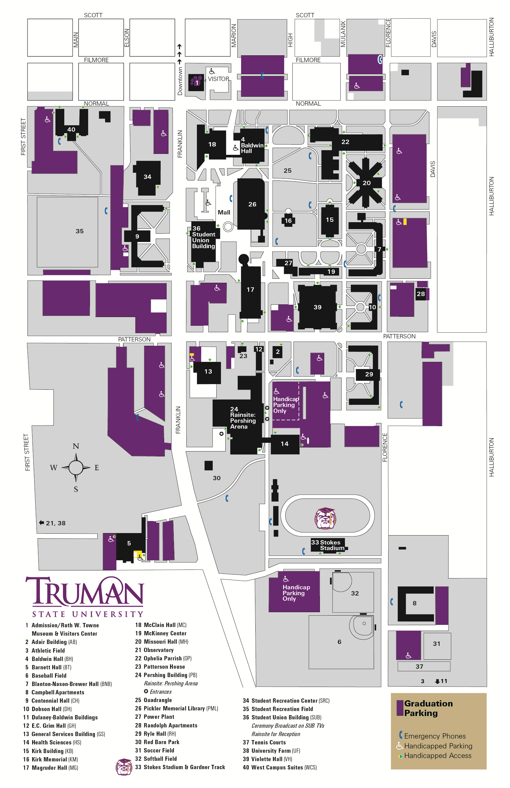 Parking Map for Commencement