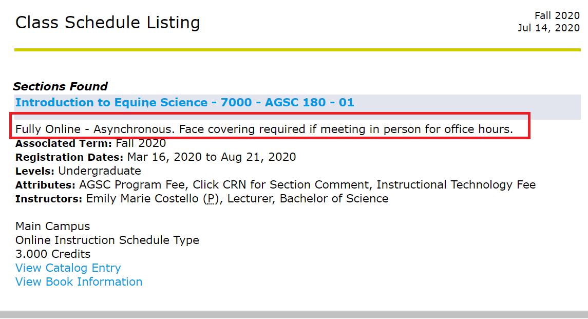 Class Description under CRN column