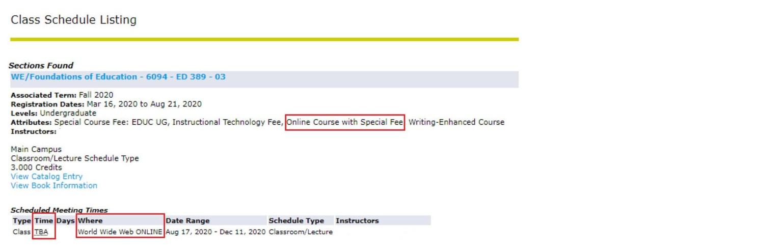 Screenshot of Class listing