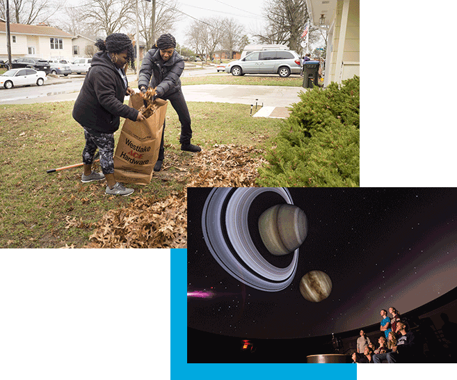 Students raking leaves and students in the Planetarium
