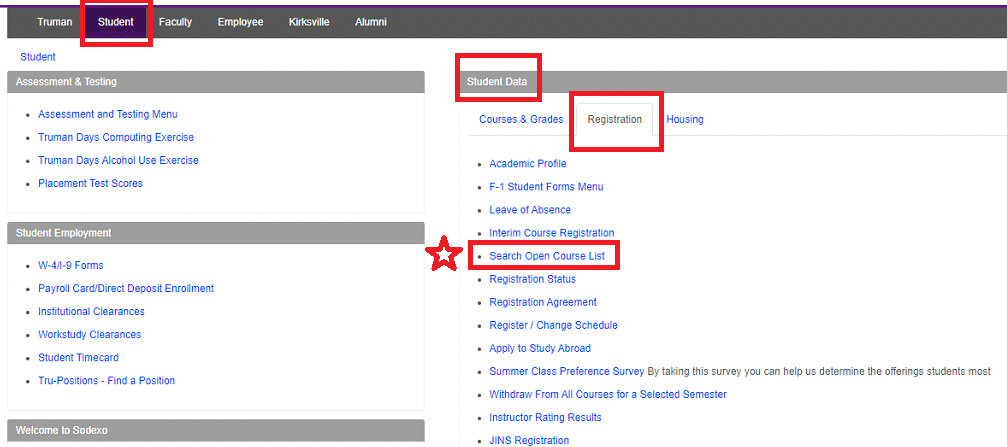 Screenshot of Student Tab in TruView