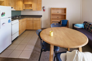 Kitchen area and living space in Cambell Apartments
