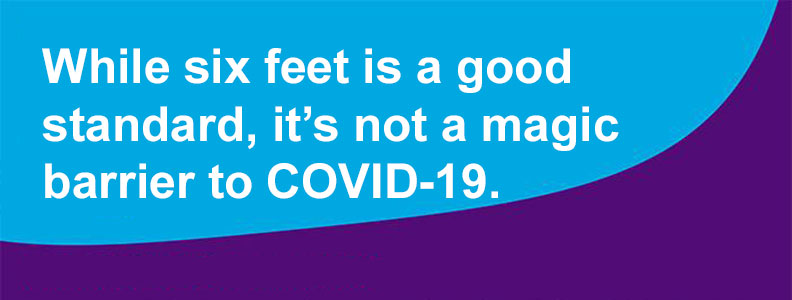 While six feet is a good standard it is not a magic barrier to COVID-19