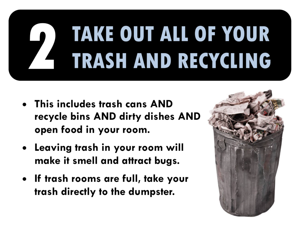 1. Take out all or your trash and recycling. This includes trash cans and recycle bins and dirty dishes adn open food in your room. Leaving trash in your room will make it smell and attract bugs. If trash cans are full, take your trash directly to the dumpster.