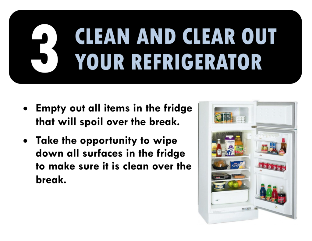 3. Clean and clear out your fridge. Empty items in the fridge that will spoil over break. Take the opportunity to wipe down all surfaces in the fridge to make sure it is clean over the break.