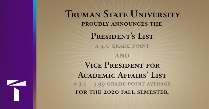 Academic Honor Rolls - President's List and Vice President's List
