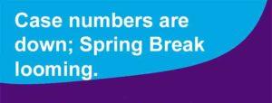 Case numbers are down; Spring Break looming.