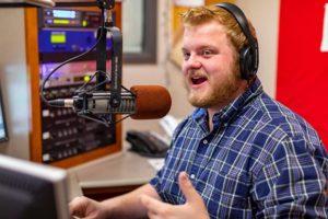 Student on-air at University radio station
