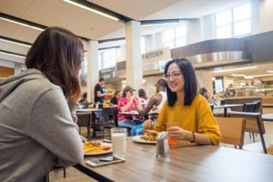 Students in Residence Hall dining room