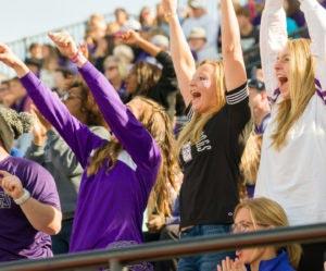 Bulldog fans cheering for the football team